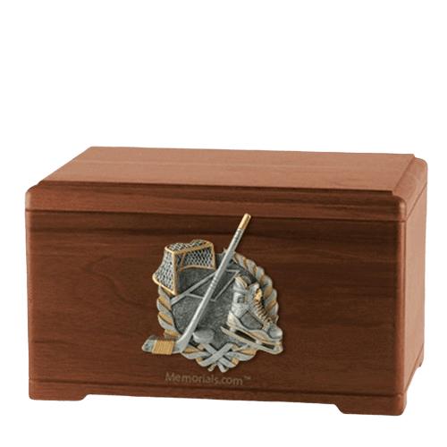 Ice Hockey Walnut Cremation Urn