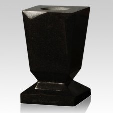 India Black Beveled Granite Vase