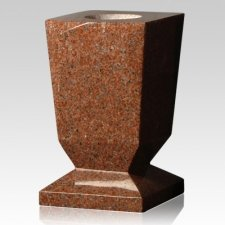 India Red Beveled Granite Vase