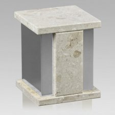 Infinita Silver Perlato Marble Cremation Urns