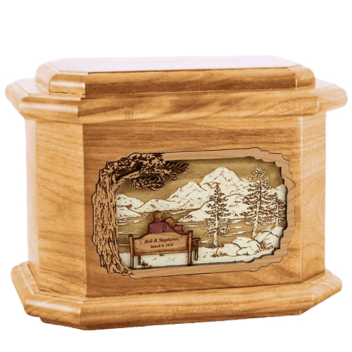 Infinitely Oak Octagon Cremation Urn