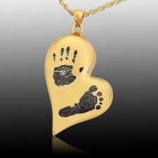 Infinity Heart 14k Gold Cremation Print Keepsake