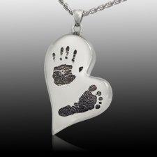 Infinity Heart 14k White Gold Cremation Print Keepsake