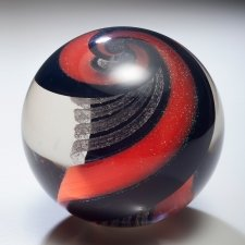 Infinity Red & Black Glass Weight