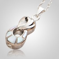 Infinity Silver Pearl Cremation Pendant