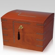 Inlaid Wood Chest Cremation Urn