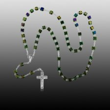 Iridescent Silver Cremation Rosary