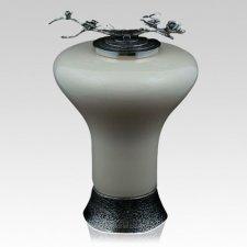 Ivory Rose Glass Cremation Urn