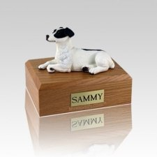 Jack Russell Terrier Black Laying Medium Dog Urn