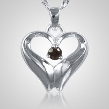 January Birthstone Cremation Heart