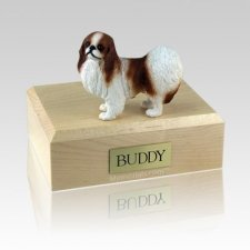 Japanese Chin Red & White Large Dog Urn