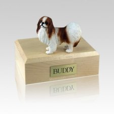 Japanese Chin Red & White Medium Dog Urn