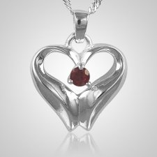 July Birthstone Cremation Heart