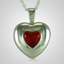 July Cremation Heart Pendant