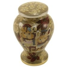 Kitty Brown Cloisonne Urn