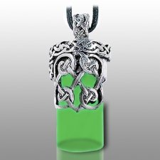 Knotted Heart Green Pet Urn Necklace