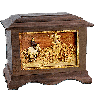 Last Horse Ride Walnut Cremation Urn For Two