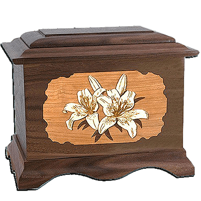 Lily Walnut Cremation Urn For Two
