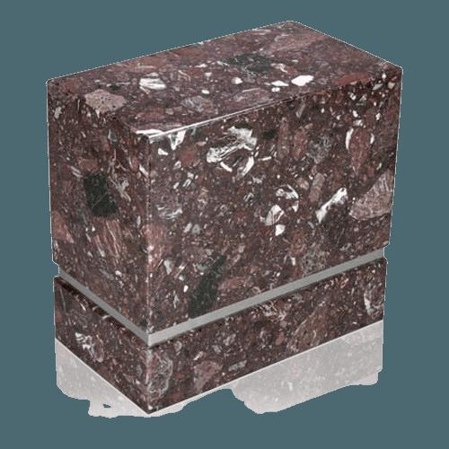 La Nostra Silver Rosso Levanto Marble Companion Urn