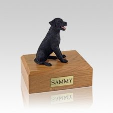 Labrador Black Sitting Small Dog Urn