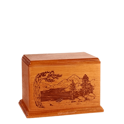 Lakeside Small Mahogany Wood Urn