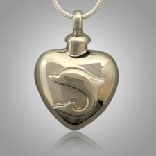 Large Dolphin Heart Cremation Jewelry