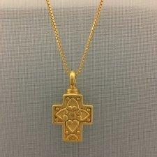 Large Filigree Pet Cross with Hearts Memorial Jewelry II