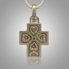 Large Filigree Pet Cross with Hearts Memorial Jewelry