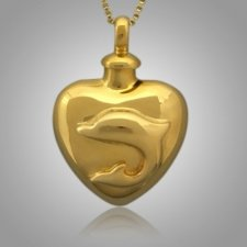 Large Pet Dolphin Heart Cremation Pendant II