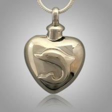 Large Pet Dolphin Heart Cremation Pendant