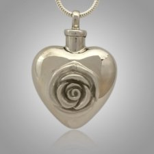 Large Pet Rose Heart Cremation Pendant