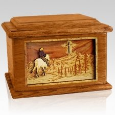 Last Horse Ride Mahogany Memory Chest Cremation Urn