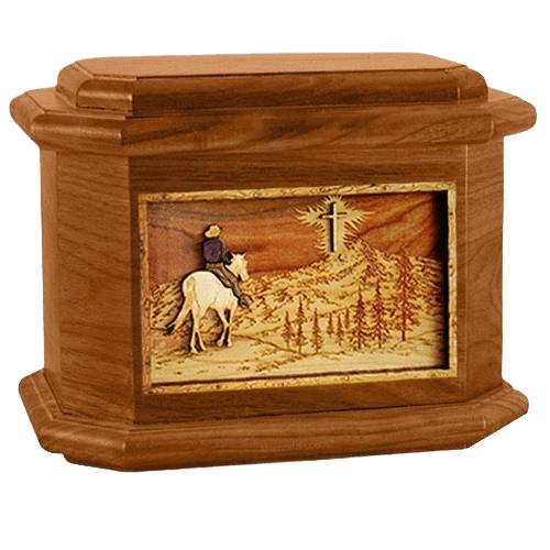Last Horse Ride Mahogany Octagon Cremation Urn