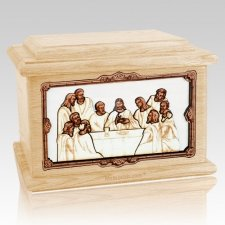 Last Supper Maple Memory Chest Cremation Urn