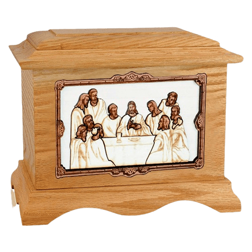 Last Supper Oak Cremation Urn
