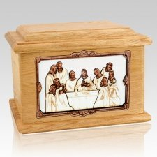 Last Supper Oak Memory Chest Cremation Urn