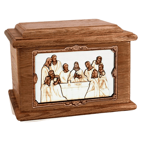 Last Supper Walnut Memory Chest Cremation Urn