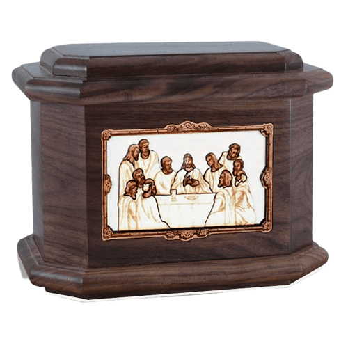 Last Supper Walnut Octagon Cremation Urn