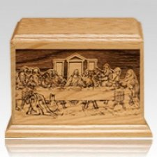 Last Supper Walnut Wood Urn