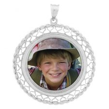 Lattice White Gold Photo Pendant