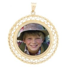 Lattice Yellow Gold Photo Pendant