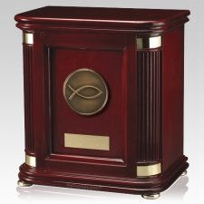 Laudation Christian Fish Wood Cremation Urn