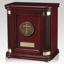 Laudation Cross Wood Cremation Urn