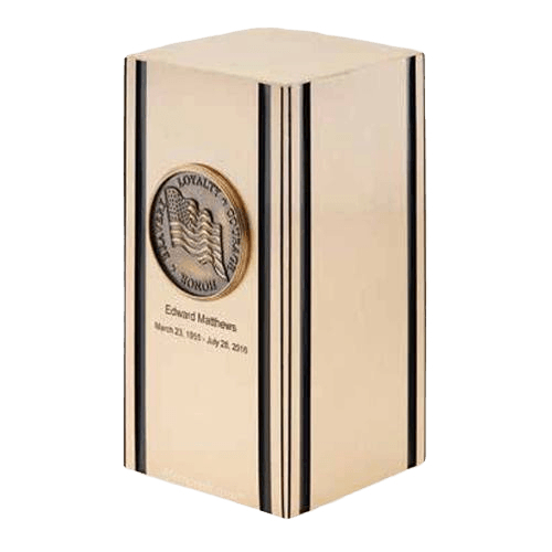 Liberty Flag Bronze Military Cremation Urn