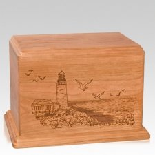 Lighthouse Companion Cherry Wood Urn