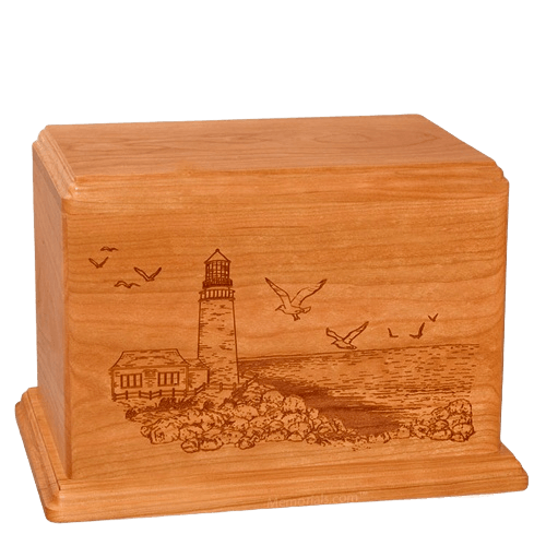 Lighthouse Companion Mahogany Wood Urn