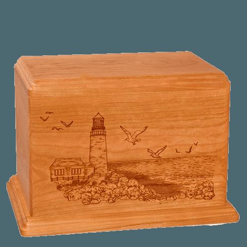 Lighthouse Companion Mahogany Wood Urn
