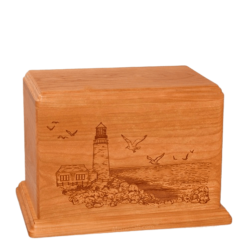 Lighthouse Individual Mahogany Wood Urn