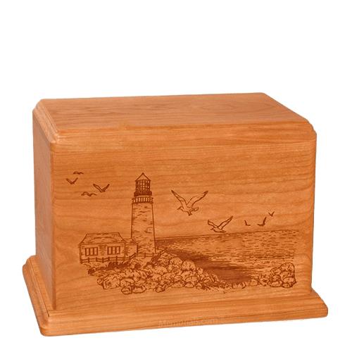 Lighthouse Individual Mahogany Wood Urn