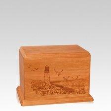 Lighthouse Small Mahogany Wood Urn